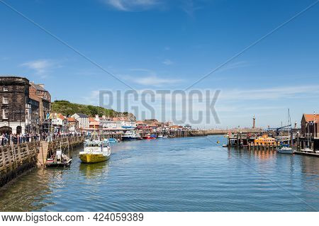 Whitby, England - June 25:  A View Along The Quayside Of The Seaside Town Of Whitby In Yorkshire, No