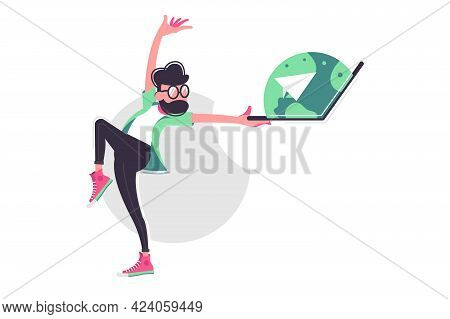 Man Dancing With Open Laptop Vector Illustration. Bearded Man With Modern Computer Device Moving Fla