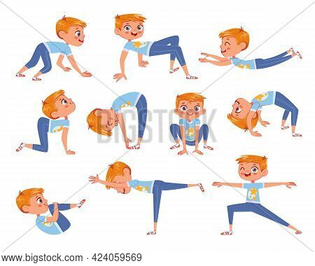 Cut Little Boy Doing Physical Exercises. Funny Cartoon Character. Vector Illustration. Isolated On W