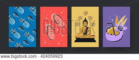 Set Of Contemporary Art Posters With Thai Symbols. Vector Illustration. Collection Of Colored Thai F