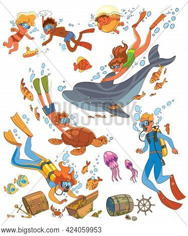 Diving And Snorkeling. Underwater Life. Set. Funny Cartoon Character. Vector Illustration. Isolated