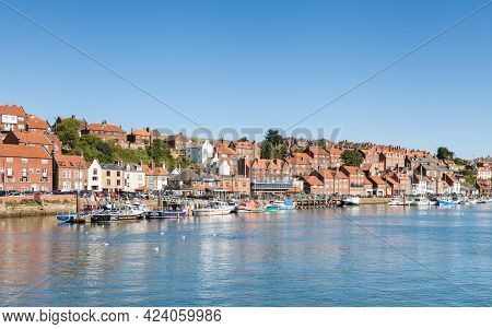 Whitby, England - June 25:  The View Across The River Esk And The Whitby Waterfront.  Whitby Is A Re