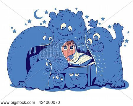 Nightmares. Child Hid Under Blanket From Night Monsters. Boy Shines Flashlight Under Covers. Funny C