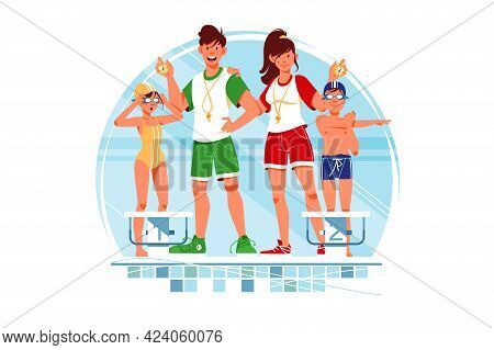 Coaches And Swimmers Vector Illustration. Children Wearing Bright Sportswear Flat Style. Swimming Cl