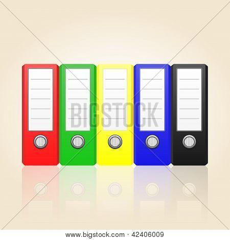 Row Of Color Binders Vector
