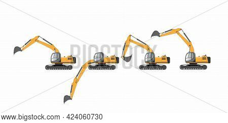A Set Of Vector Images Of A Bucket Excavator With Different Positions Of The Boom And Bucket.