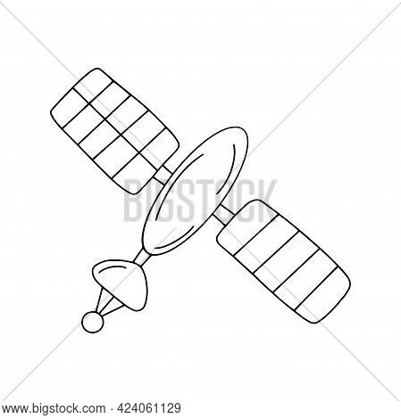 Artificial Satellite In Space. Research And Signal Acquisition. Black And White Vector Isolated Dood