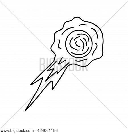 Flying Fiery Meteorite. Comet. Elements Of The Universe. Black And White Vector Isolated Doodle Illu