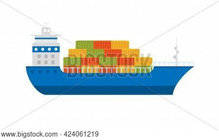 Color Icon Cargo Ship Maritime Shipping. Sea Transportation Logistic.