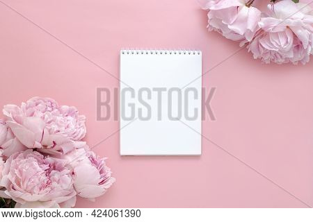 Greeting Card Design For Birthday, Wedding, Mother's Day, Valentine's Day. Pink Peony Flowers On A P