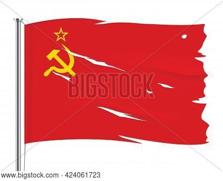 Ussr Torn Flag Waving On Metallic Pole.