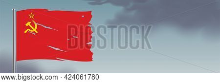 Ussr Flag Waving On Cloudy Sky Background..