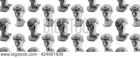 Pattern From Gypsum Statue Of Davids Head. Michelangelos David Statue Plaster Copy Isolated On White