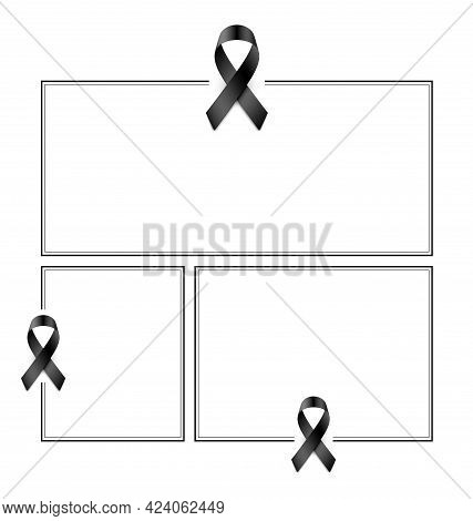 Set Of Condolence Frames With Black Ribbons.