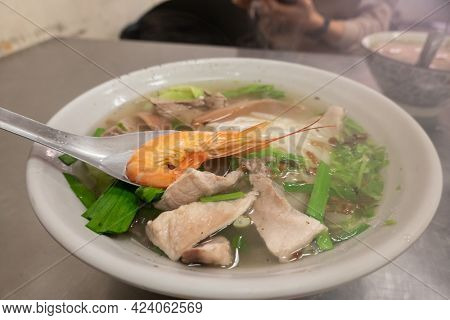 traditional food of assorted Taiwanese noodle soup in a restaurant at Taiwan