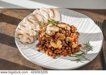 Lentils With Sliced Mushrooms And Vegetables. Vegan Food - Stewed Carrots, Peppers, Onions And Lenti