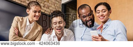 Happy African American Woman Holding Smartphone Near Cheerful Coworkers, Banner