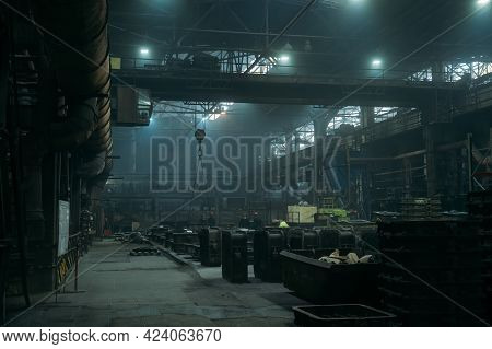 Industrial Workshop Or Warehouse Interior Background. Metallurgical Factory, Heavy Industry.