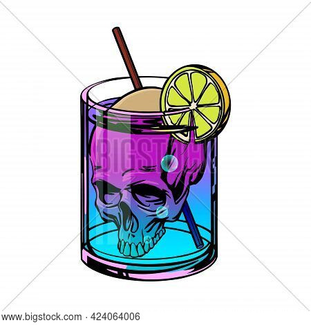 Death Cocktail With Skull And Neon Drink Drawn In Pop Art Style. Vector Illustration.