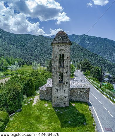 Romanesque Church Sant Miquel D Engolasters Whose Main Architectural Feature Is The Bell Tower, In A