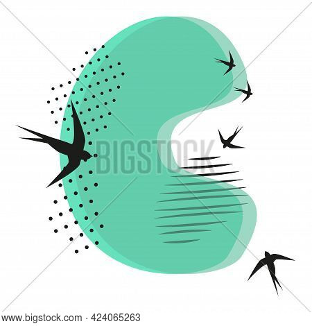 Minimalistic Pattern An Oriental Style In Form Of Letter C. Flock Of Swallows Flies. Abstract Object