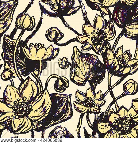 Linear Pattern - Lotus, Water Lillies Flowers. Lotus Flowers Seamless Pattern. Monotone With Drawing