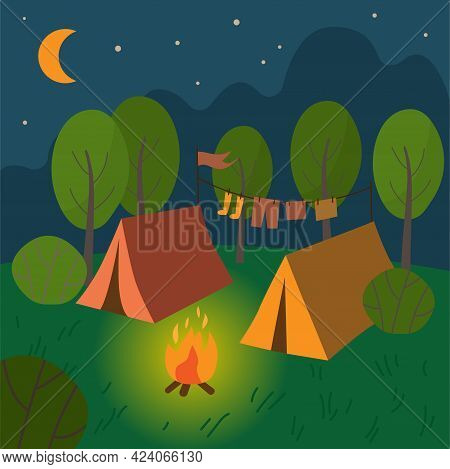 Camp With Two Tents And Campfire. Natural Landscape With Tents. Tourist Parking.