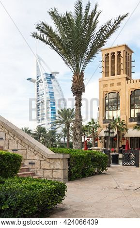 Dubai, United Arab Emirates - 05 December, 2018: Cityscape View From Madinat Jumeirah On Famous Seve