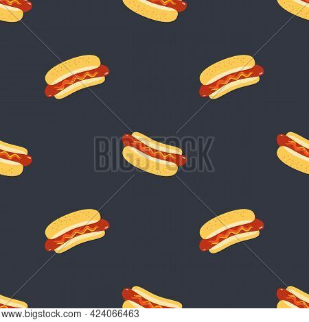 Hot Dogs Vector Seamless Pattern Background. Roasted Sausage In Bun, Sesame Seeds, Ketchup Sauce Car