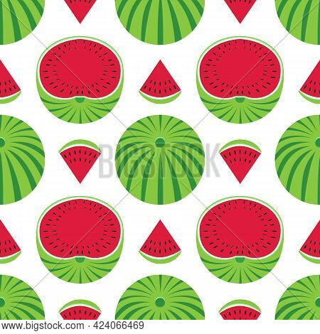 Watermelons Decorative Vector Pattern Seamless Pattern Background. Watermelon Fruit Slice Cartoon De
