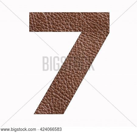 Number Seven (7) - Brown Leather Texture Background