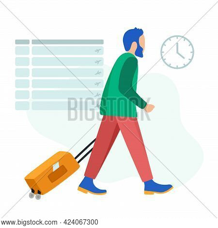 A Young Man With A Suitcase At The Airport Is In A Hurry To Catch A Plane. For Posters, Websites, Mo