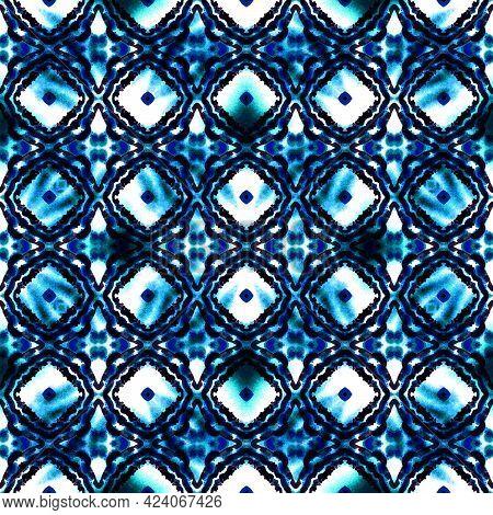Geo Surface Medallion. Blue, Cyan, Indigo Home Decor. Talavera, Azulejos Print. Portugal, Turkish Or