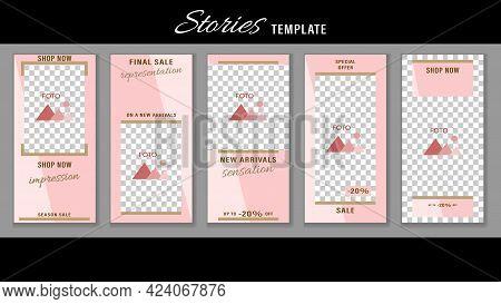 Trendy Editable Stories Pastel Pink Color Geometric Frames. Design Social Media.