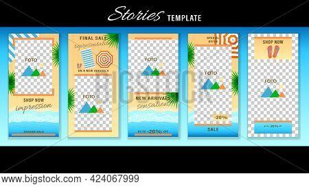 Trendy Editable Stories On The Beach Resort Theme. Design Social Media.