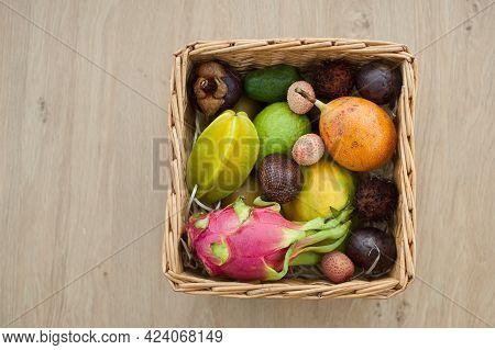 Big Basket Of Fresh Tropical Fruits, Passion Fruit, Carambola, Dragon Fruit Or Pitaya, Mangosteen, L