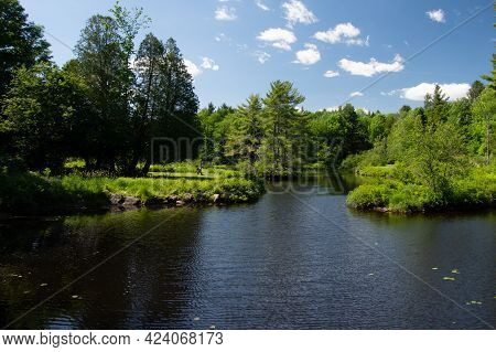 Beautiful  And Wild River In The Province Of Quebec, Canada