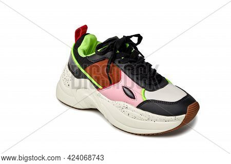 Close-up Front View Of The Sneaker. Bright Colors Green, Pink, Black, Brown.