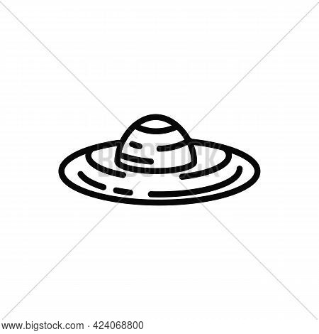 A Straw Hat. Womens Beach Accessory. A Farmers Hat. Protect Your Head From The Sun. Simple Vector Ic