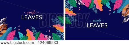Hello Summer Concept Design, Summer Panorama, Abstract Illustration With Jungle Exotic Leaves, Color