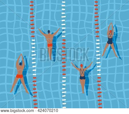 Swimmers Are Swimming In Swimming Pool, Top View Flat Vector Illustration.