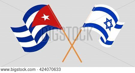 Crossed And Waving Flags Of Cuba And Israel
