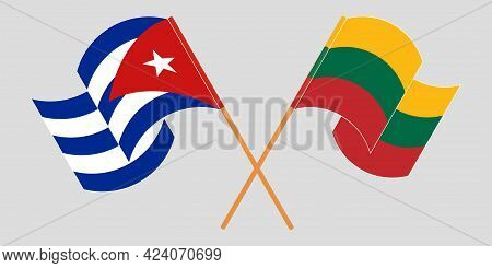 Crossed And Waving Flags Of Cuba And Lithuania