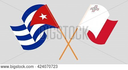 Crossed And Waving Flags Of Cuba And Malta