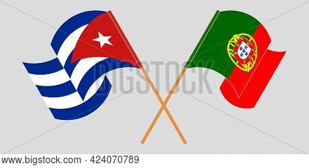 Crossed And Waving Flags Of Cuba And Portugal