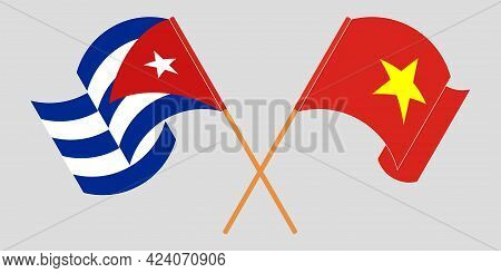 Crossed And Waving Flags Of Cuba And Vietnam