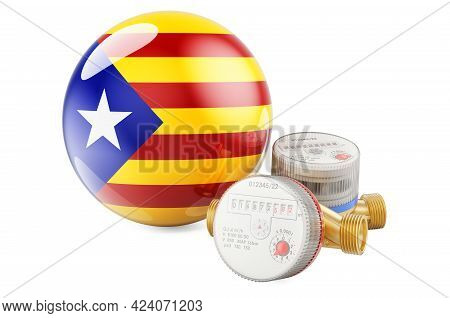 Water Consumption In Catalonia. Water Meters With Catalan Flag. 3d Rendering Isolated On White Backg