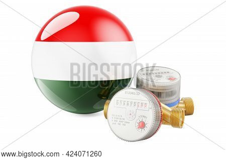 Water Consumption In Hungary. Water Meters With Hungarian Flag. 3d Rendering Isolated On White Backg