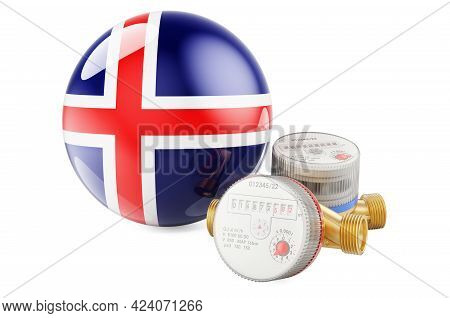 Water Consumption In Iceland. Water Meters With Icelandic Flag. 3d Rendering Isolated On White Backg
