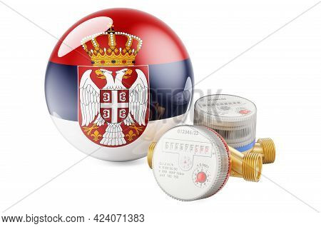 Water Consumption In Serbia. Water Meters With Serbian Flag. 3d Rendering Isolated On White Backgrou